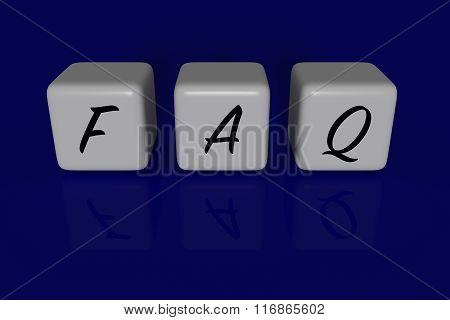 FAQ dices dark blue background
