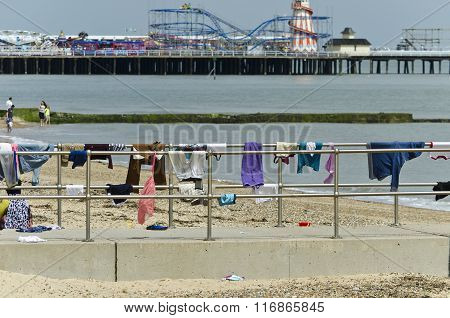 Clothes drying On railings by the sea
