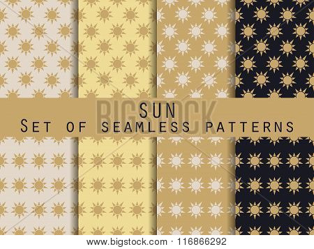 Sun. Set Of Seamless Patterns. The Pattern For Wallpaper, Bed Linen, Tiles, Fabrics, Backgrounds. Ve