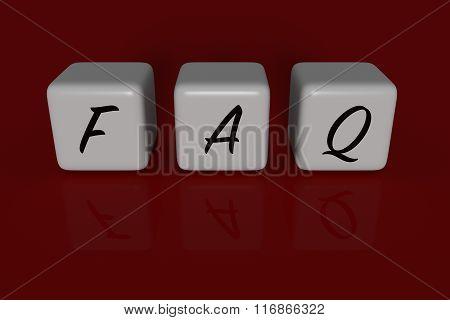 FAQ dices, dark red background