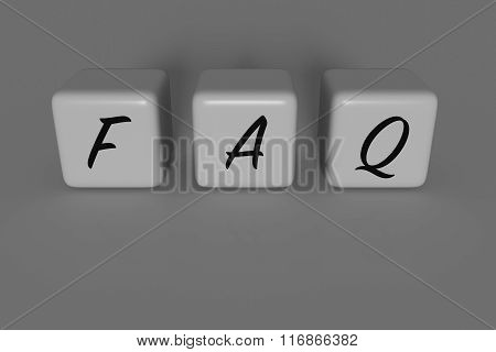 FAQ dices, gray background