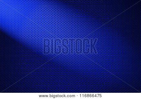 Spotlight On Blue Metallic Mesh Background.