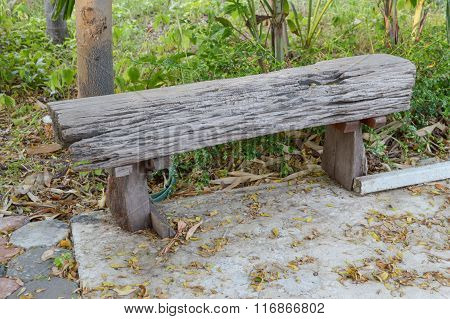 wood chair in garden