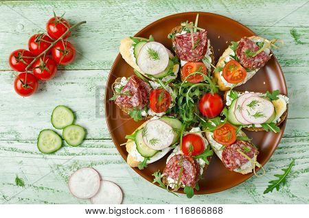 Sandwiches With Cottage Cheese, Egg, Radish, Cucumber, Salami, Cherry Tomatoes And Arugula