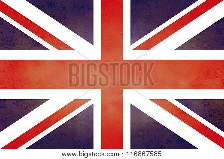 United Kingdom Flag On Old Paper Texture.