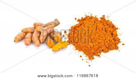 Turmeric Roots And Turmeric Powder On White Background