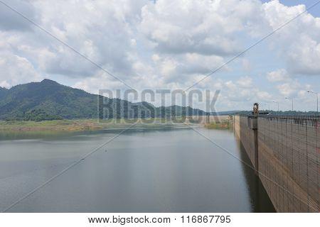 concrete dam in the forest