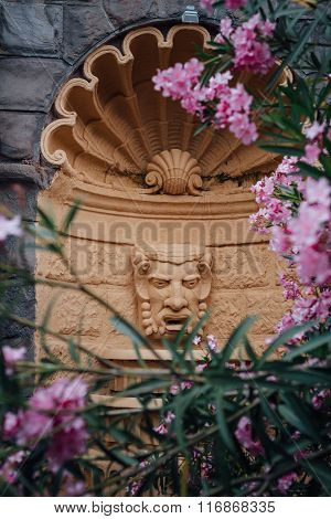 Architectural Detail of Fountain Tragic Mask in Oleander Flowers