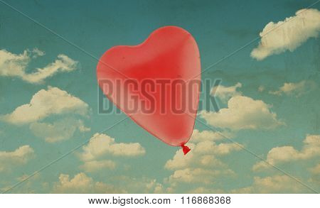 Red Love Heart Balloon On Blue Sky Background, Valentine Concept, Vintage Style