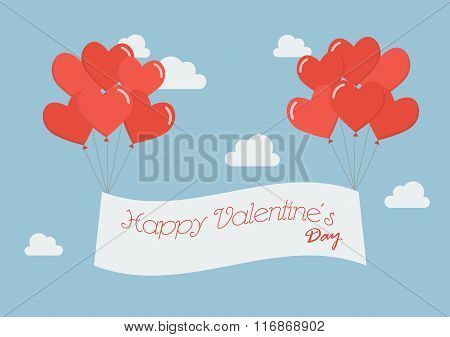 Heart Balloons With Happy Valentine's Day Banner