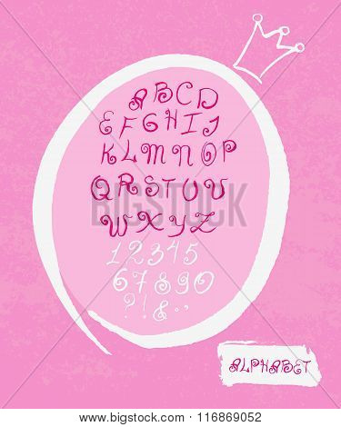 Handwritten English Alphabet.princess Style Latin Alphabet Very Cute Looking. Pink Letters, White Cr