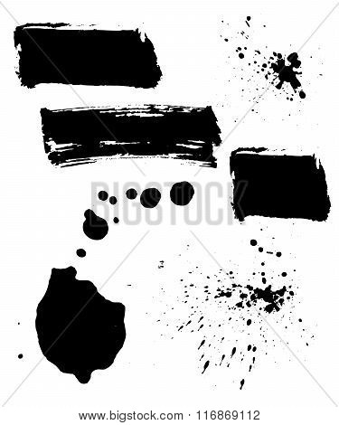 Set Of Vector Ink Blots And Strokes. Grunge Elements For Design. Black On White.