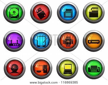 Computer equipment icons set