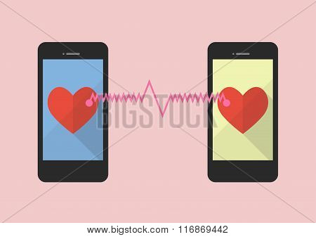 Two Hearts Icon Was Connected By Two Smartphones