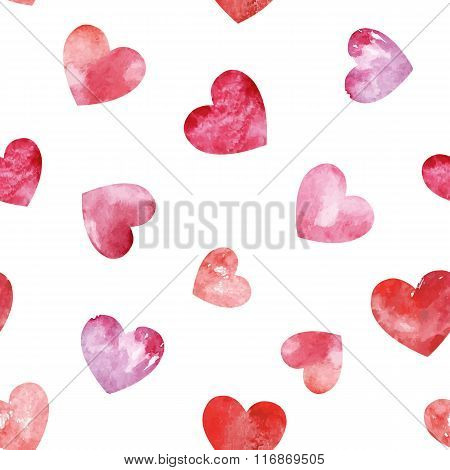 Seamless Pattern With Watercolor Hearts.