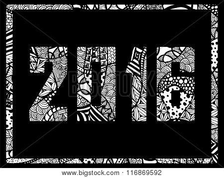 New Year 2016 Zentangle Abstract Background Black White