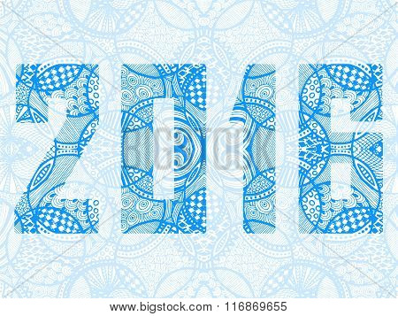 New Year 2016 Zentangle Abstract Background Blue White