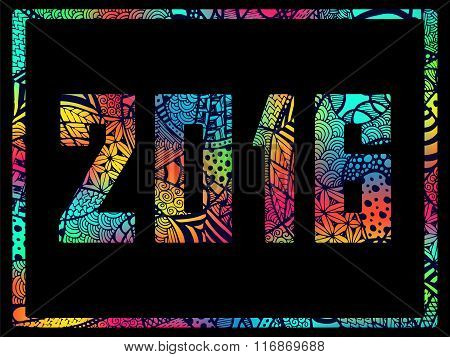 New Year 2016 Zentangle Abstract Background Colorful
