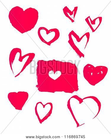 Vector Set Of Hand-drawn Heart Symbols. Design Elements For Valentine's Day, Wedding...