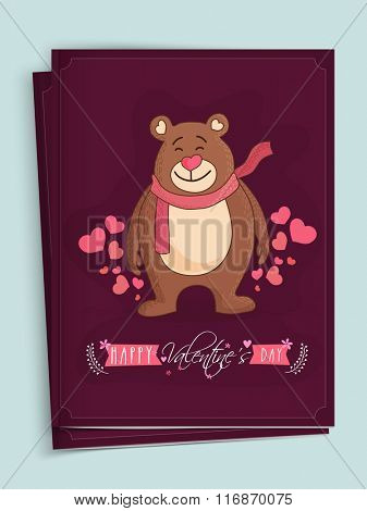 Cute bear on hearts decorated background, Elegant greeting card design for Happy Valentine's Day celebration.