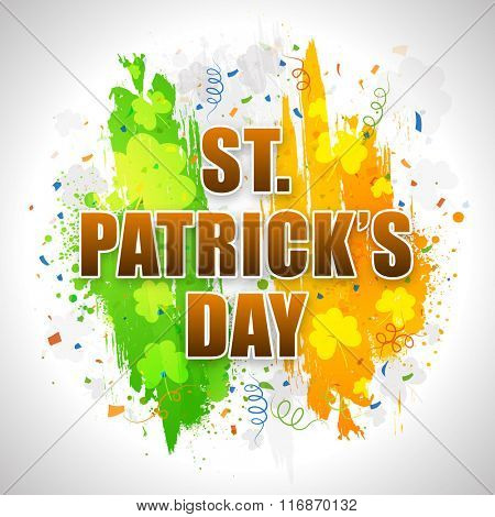 Stylish text St. Patrick's Day on Irish Flag color paint strokes and Shamrock leaves decorated background.