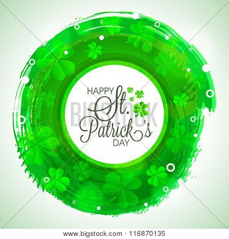 Elegant greeting card design decorated with glossy Shamrock Leaves for Happy St. Patrick's Day celebration.