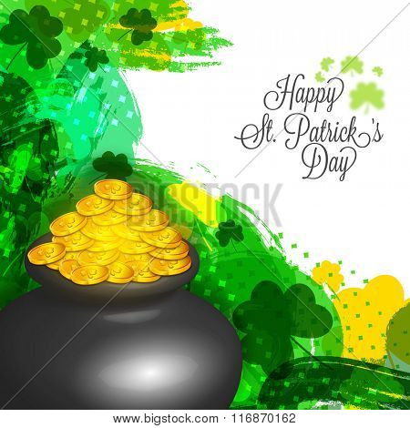 Glossy pot full of golden coins on abstract background for Happy St. Patrick's Day celebration.