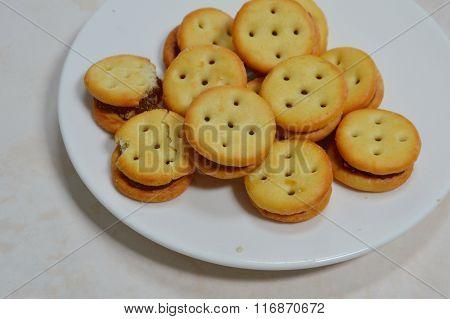 pineapple filling cracker on white dish