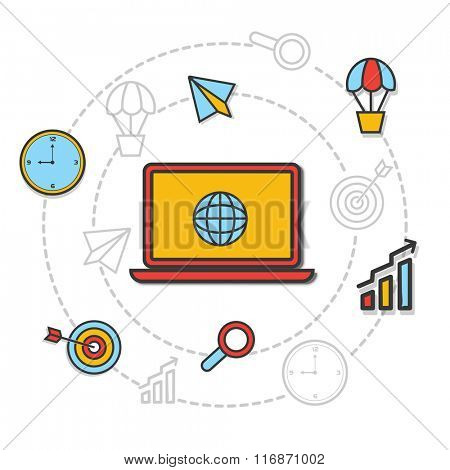 Colorful creative Infographic elements with digital device for Business Progress concept.