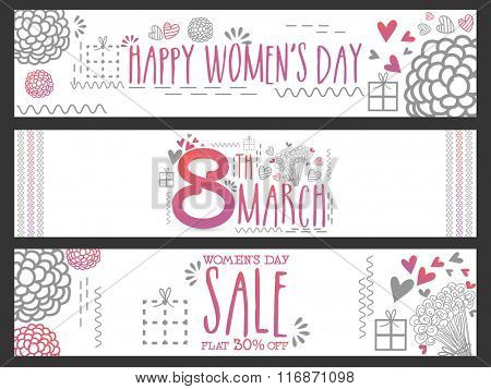 Sale website header or banner set with flat discount offer for 8th March, Happy Women's Day celebration.
