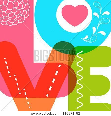 Creative colorful text love with floral design for Happy Valentine's Day celebration.