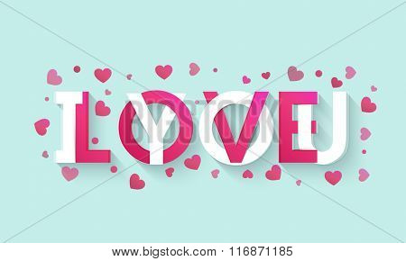 Stylish text I Love You on pink hearts decorated background for Happy Valentine's Day celebration.