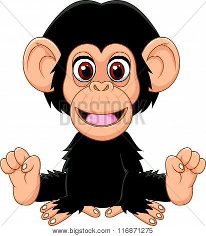 Cartoon funny baby chimpanzee sitting isolated on white background