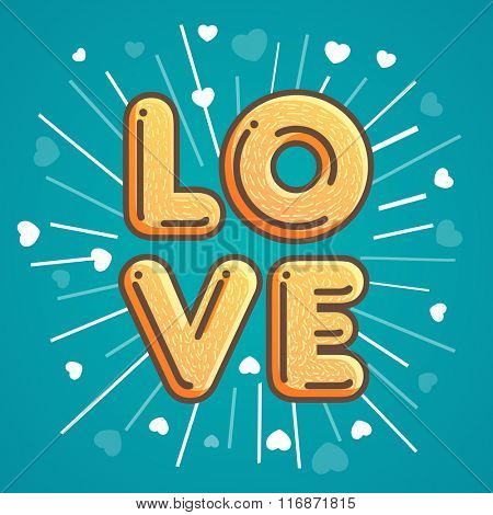 Creative text Love on hearts decorated background for Happy Valentine's Day celebration.
