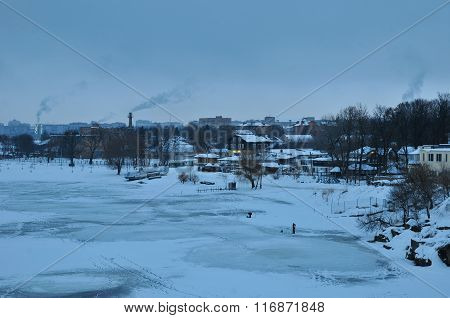 Winter morning. Panorama on winter shore of the river Ros. City of Bila Tserkva. Ukraine.