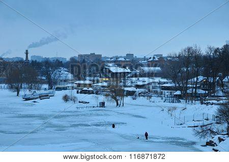 Winter morning. Panorama on winter shore of the river Ros. City of Bila Tserkva. Ukraine.