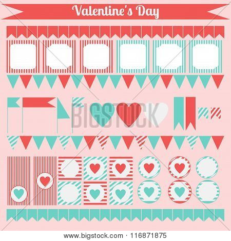 Printable Set Of Saint Valentine Party Elements. Happy Valentines Day Set.