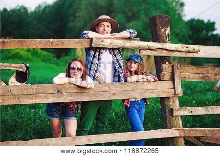 family on ranch, farm
