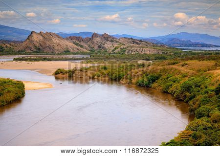 wide river and rock mountains landscape