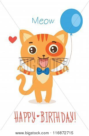 Funny Cat With Balloon. Cute Cartoon Animal Vector On White Background. Funny Cat Picture. Funny Cat Memes. Funny Cat Greetings Card. Kitty Poster. Kitty Tshirts. Cute Cat Toy. Cat Gift. Cat Games.