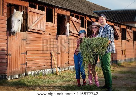 family on ranch