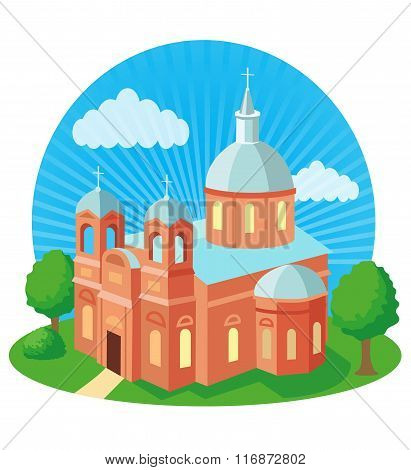 Christian Church With Cross, Vector Illustration. Christian Church Near Me. Christian Church History. Christian Church Supplies. Christian Church Decor. Christian Church Homes. Church In Christ.