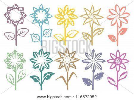 Flowers On Stalk Vector Art Element Design