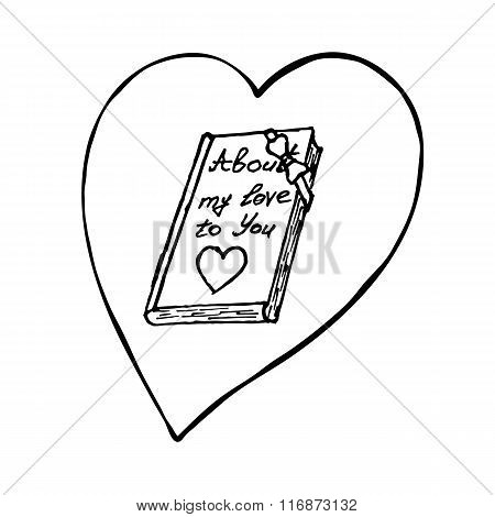 Book with heart. Sketch vector design element for Valentine's day