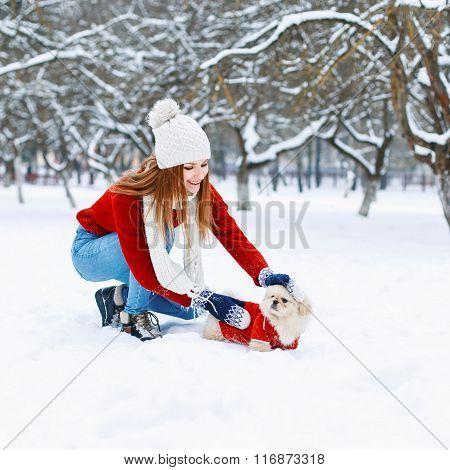 Girl Walking A Dog.