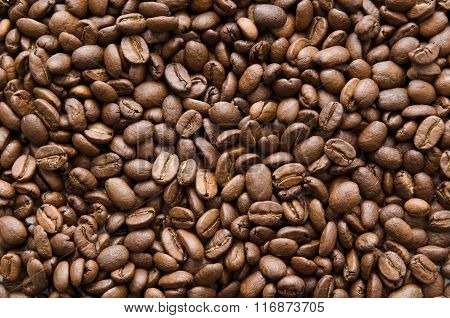Roasted Coffee Beans Texture. Brown Grain Background