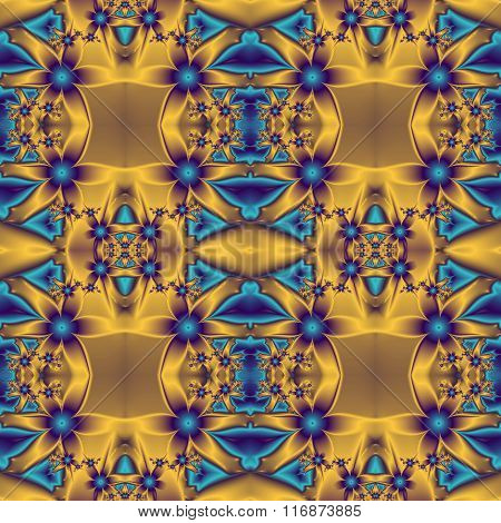 Flower Pattern In Fractal Design. Blue And Gold Palette. Computer Generated Graphics.