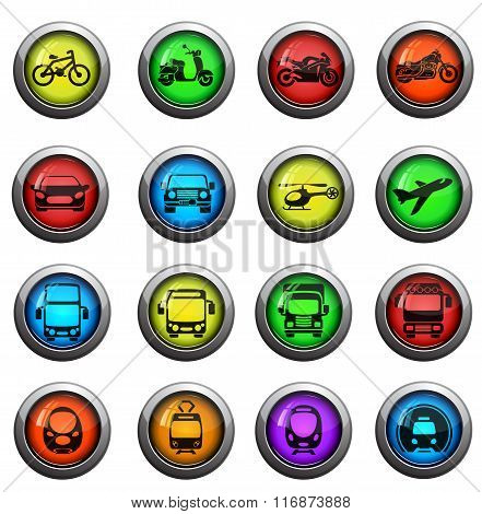 Transport mode icons set