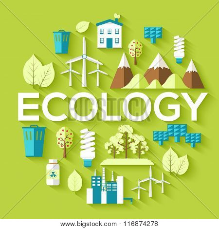 Ecology circle infographics template concept. Icons for your product or design, web and mobile appli