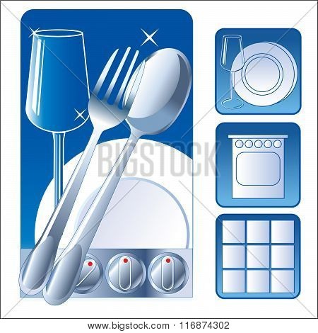 Washed Dishes. Set Iconic Symbol Image. Plate, Fork, Tile, Glass. Vector Picture. Wash Dishes Meme. Wash Dishes Fast. Clean Dishes Rack. Clean Dishes Sign. Clean Dishes Magnet.